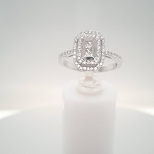 18ct White Gold Emerald Style Halo Ring