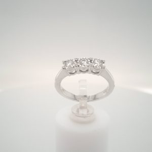 9ct White Gold 3 Stone Diamond Ring