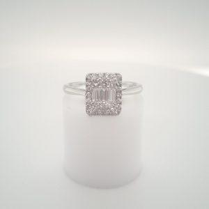 9ct White Gold Emerald Style Diamond Ring