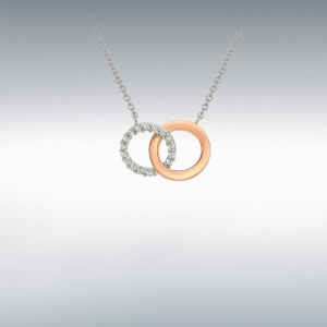 Two Tone 9ct Gold Circle Pendant