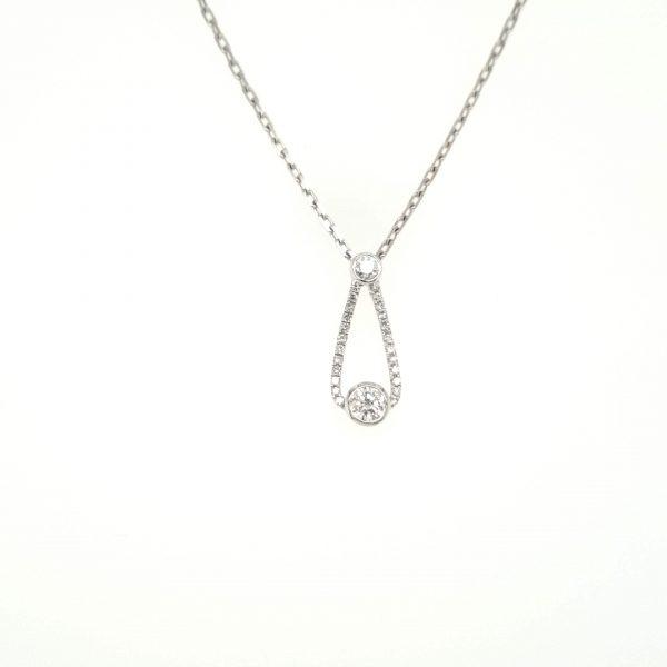 9ct White Gold Diamond Drop Pendant