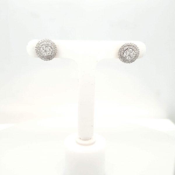 18ct Halo Diamond Stud Earrings