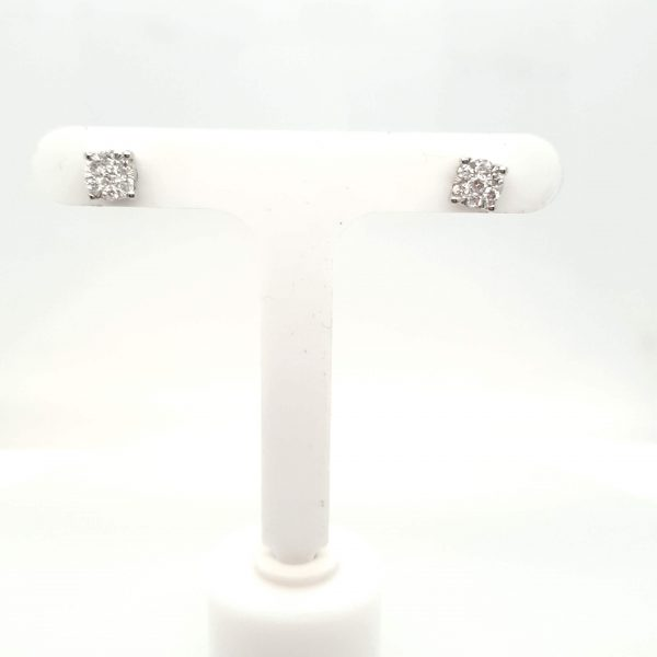 9ct White Gold 4 Claw Diamond Stud Earrings