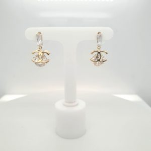 "Gold Plated C/z Drop ""C"" Earring"