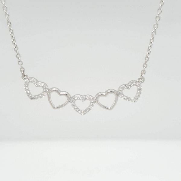 Silver 5 Heart C/z Necklace
