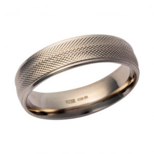 Gents 9ct White Gold Wedding Band Pattern 17