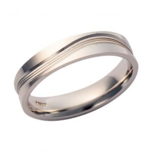 Gents 9ct White Gold Wedding Band Pattern 218