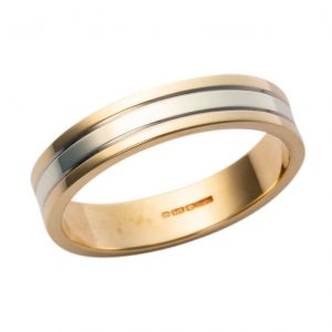 Gents Two Tone Wedding Band Patt 324TY