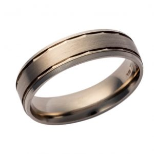 Gents 9ct White Gold Wedding Band Pattern 407