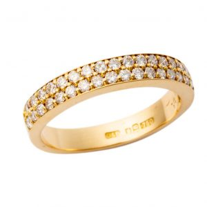 18ct Yellow Gold Double Row Diamond Band MM001Y