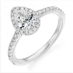 Platinum Pear Cut Diamond Engagement Ring