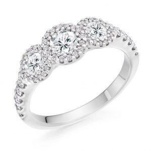 Platinum Halo 3 Stone Ring